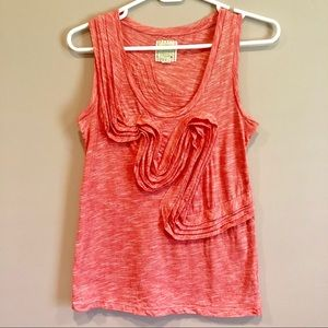 Anthropologie Little Yellow Button Coral Tank